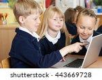 group of elementary school... | Shutterstock . vector #443669728