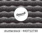 vector retro style dotwork... | Shutterstock .eps vector #443712730