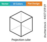 cube with projection icon. flat ...