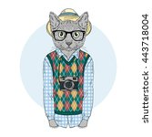 Hipster Cat Boy With Photo...