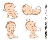 set of funny babies | Shutterstock .eps vector #443718703