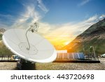 Small photo of Solar panels, antenna booster with sun rise at Himalayan Mountain, india