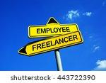 employee or freelancer  ... | Shutterstock . vector #443722390