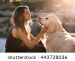 beauty woman with her dog... | Shutterstock . vector #443728036