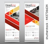 red roll up business brochure... | Shutterstock .eps vector #443736634