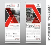 red roll up business brochure... | Shutterstock .eps vector #443736664