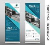 blue roll up business brochure... | Shutterstock .eps vector #443736883