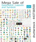 mega set of geometric layouts... | Shutterstock .eps vector #443738500