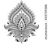 henna tattoo flower template in ... | Shutterstock .eps vector #443739388