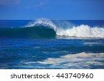 an ocean shorebreak in front...   Shutterstock . vector #443740960