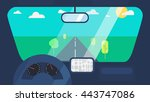 inside car interior with wheel  ... | Shutterstock .eps vector #443747086