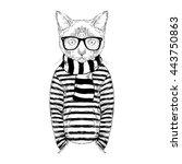 cat dressed up in frock  furry... | Shutterstock .eps vector #443750863