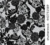 black lace pattern on grey... | Shutterstock .eps vector #443751589