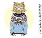 persian cat  dressed up in... | Shutterstock .eps vector #443755636