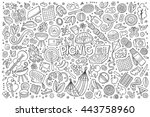 line art vector hand drawn... | Shutterstock .eps vector #443758960