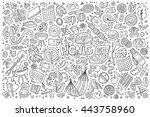 line art vector hand drawn... | Shutterstock .eps vector #443758960