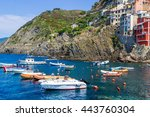 many boats on the sea near... | Shutterstock . vector #443760304