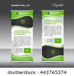 green and white roll up banner... | Shutterstock .eps vector #443765374