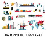 set of icons concept of oil...   Shutterstock . vector #443766214