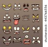 cartoon monster faces. vector... | Shutterstock .eps vector #443766556