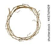 watercolor wreath. spring set.... | Shutterstock . vector #443769409