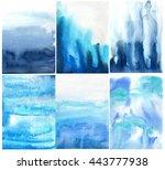blue indigo cerulean watercolor ... | Shutterstock . vector #443777938