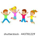 children boys and girls jumping ... | Shutterstock .eps vector #443781229