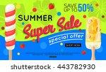 super summer sale vector banner ... | Shutterstock .eps vector #443782930
