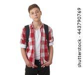 Cute Teenager Boy In Red...