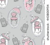 romantic seamless pattern with... | Shutterstock .eps vector #443800954