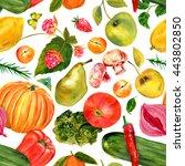 vegan food seamless background... | Shutterstock . vector #443802850