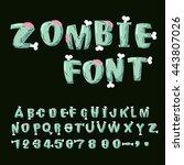 zombie font. bones and brains.... | Shutterstock .eps vector #443807026