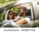 portrait of young couple... | Shutterstock . vector #443807128
