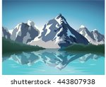 mountain landscape with lake... | Shutterstock .eps vector #443807938