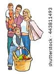 happy family shopping . vector... | Shutterstock .eps vector #443811493