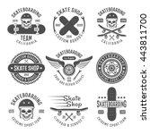 skateboarding black emblems... | Shutterstock .eps vector #443811700