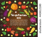 vegetables flat colored menu or ... | Shutterstock .eps vector #443812180
