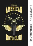 vector motorcycle club emblem... | Shutterstock .eps vector #443816044