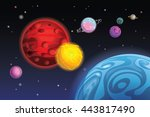 set of cartoon planets on space ... | Shutterstock .eps vector #443817490