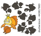 cartoon goldfish.find the right ... | Shutterstock .eps vector #443817883