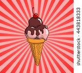 vector strawberry ice cream... | Shutterstock .eps vector #443818333