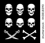 Skull Icons With Crossbones An...