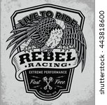 rebel racing eagle crest shield ... | Shutterstock .eps vector #443818600