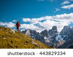 female hiker with backpack... | Shutterstock . vector #443829334