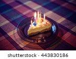 birthday celebration cake slice ... | Shutterstock . vector #443830186