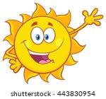 smiling sun cartoon mascot... | Shutterstock .eps vector #443830954