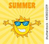 smiling sun cartoon mascot... | Shutterstock .eps vector #443831059