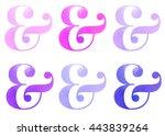 pink violet purple watercolor... | Shutterstock . vector #443839264
