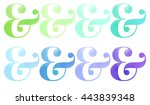 green teal light blue dark blue ... | Shutterstock . vector #443839348