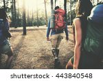 camp forest adventure travel... | Shutterstock . vector #443840548
